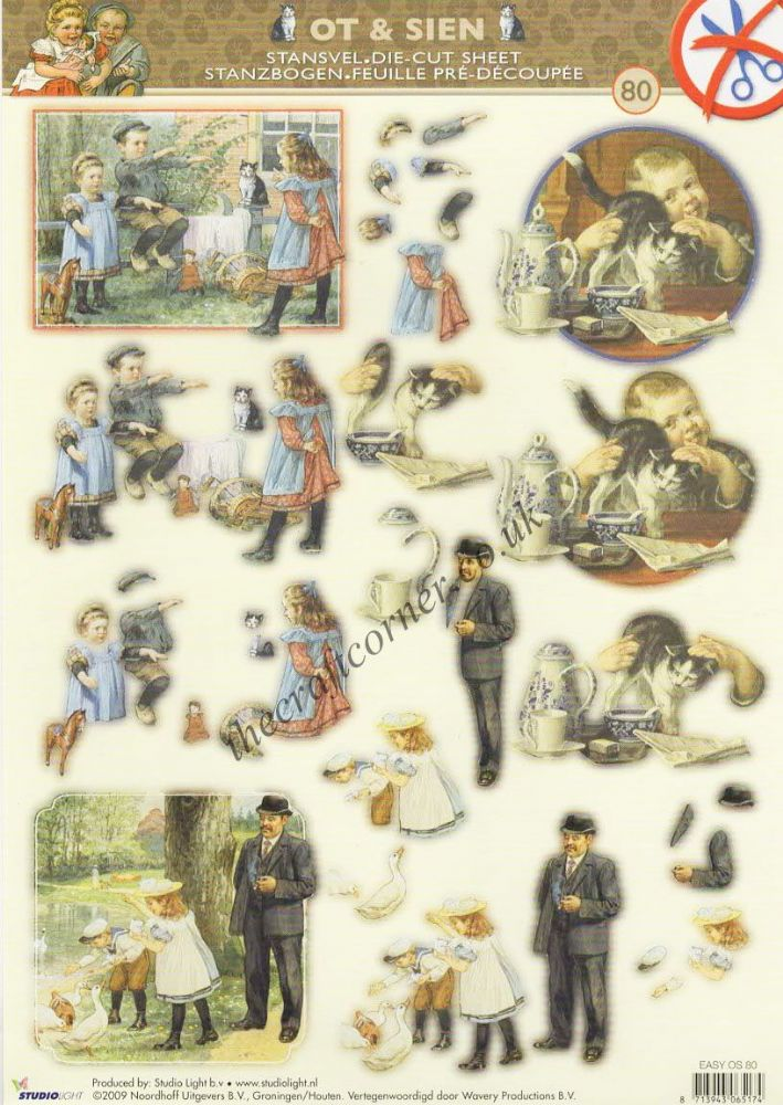 Victorian Children With Cats Amp Duck Die Cut 3d Decoupage Sheet
